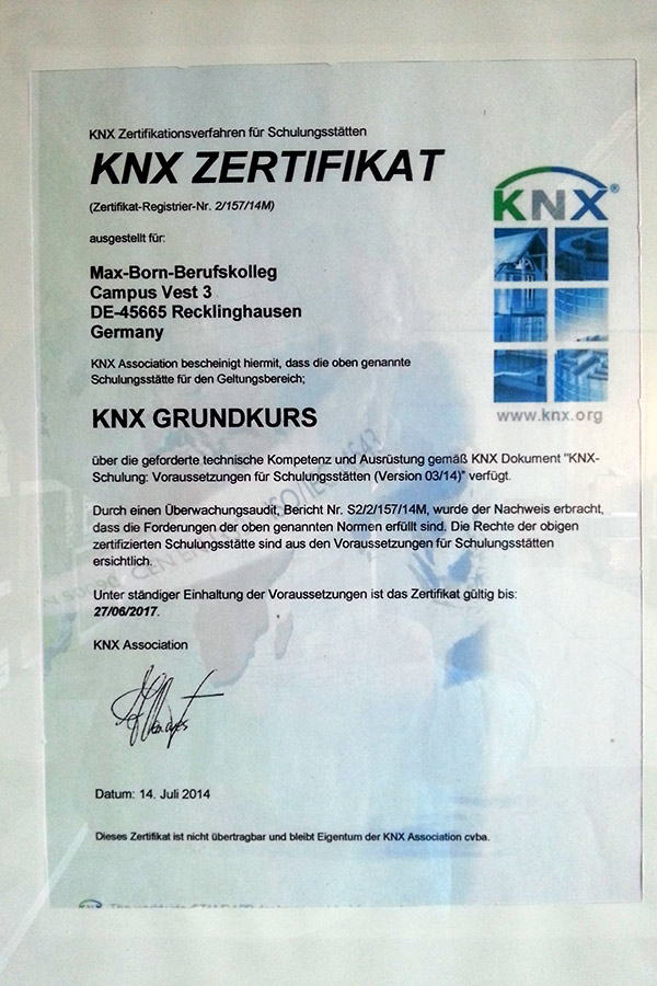 KNX 2018 - Zertifikat