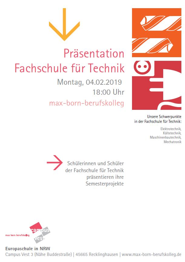Präsentation der Fachschule für Technik am 4.2.19