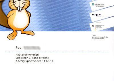 Informatikbiber 2018 Pauls Zertifikat