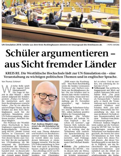 Model United Nations 2018 in der Recklinghäuser Zeitung vom 09.03.2019