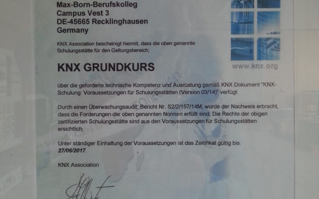 KNX – Grundkurs in der Abteilung Elektrotechnik 2018/2019