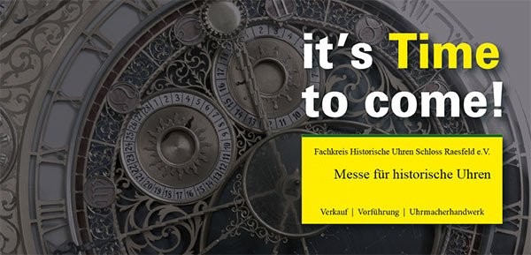 Time to come! 21. Antike Uhrenmesse am 28. September