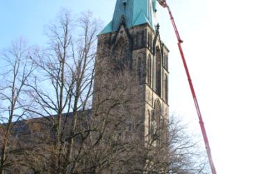 Exkursion der Klempner-Oberstufe zur Turmsanierung der Herz-Jesu-Kirche in Münster